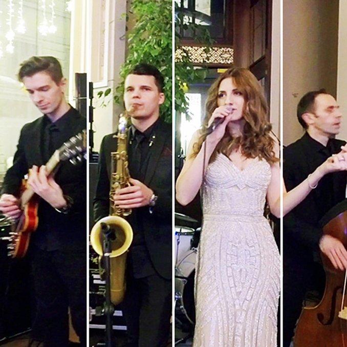 Джазовая группа с вокалисткой на выступлении. Живая музыка